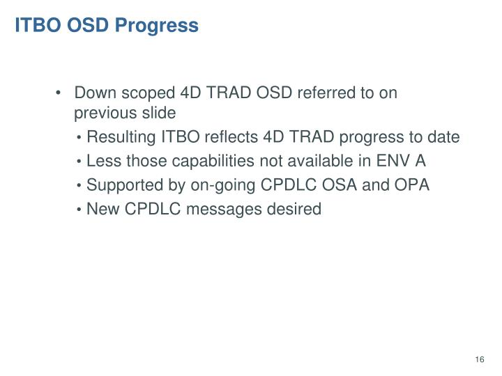 ITBO OSD Progress