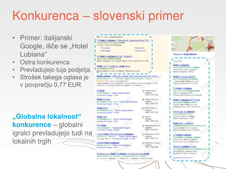 Konkurenca – slovenski primer