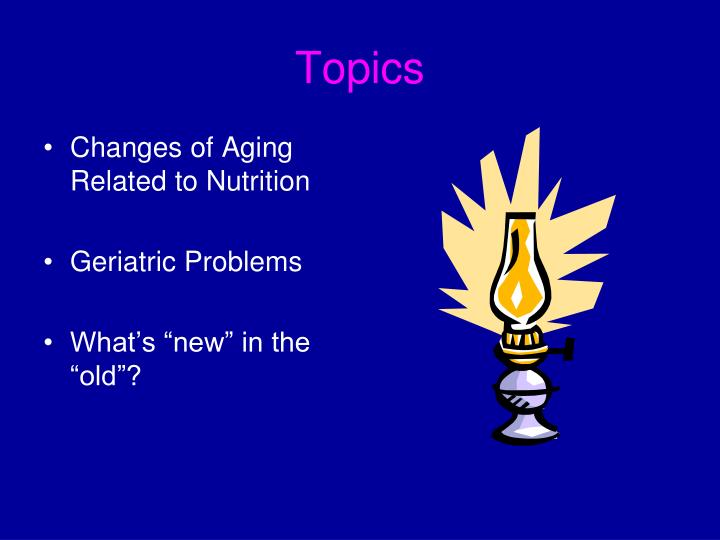 the topic of nutrition of the elderly Dedicated to bringing together the world's top researchers, clinical nutritionists, and industry to advance our knowledge and application of nutrition.