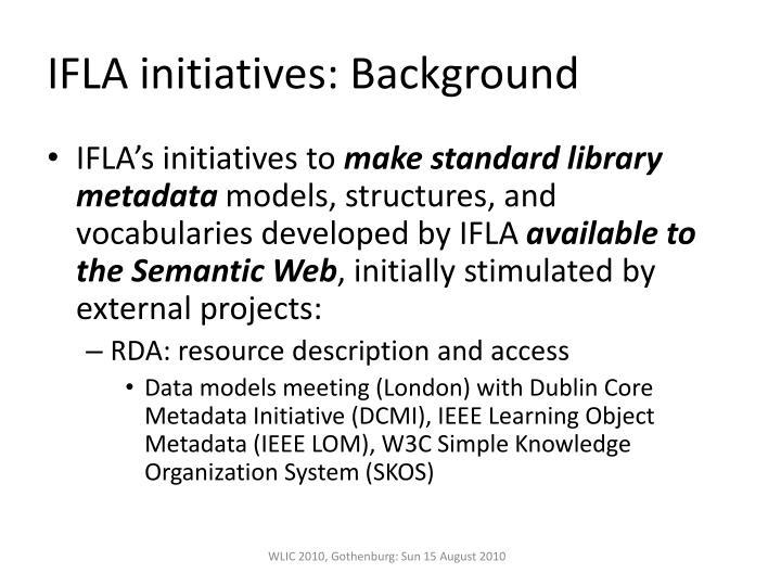 IFLA initiatives: Background