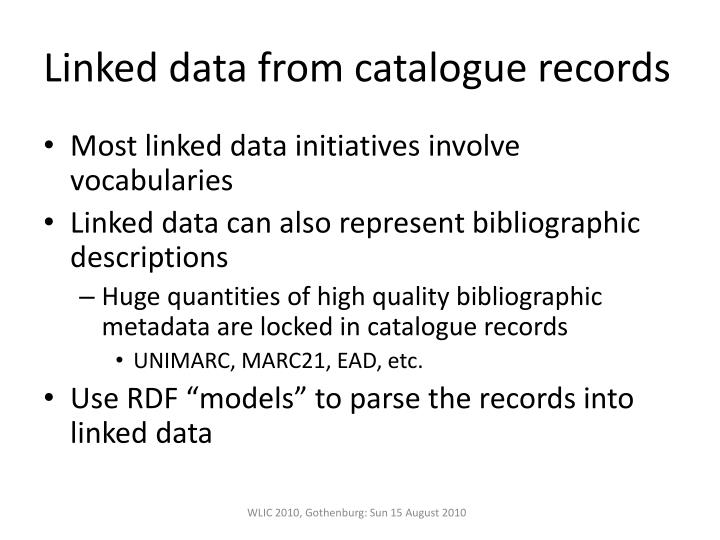 Linked data from catalogue records