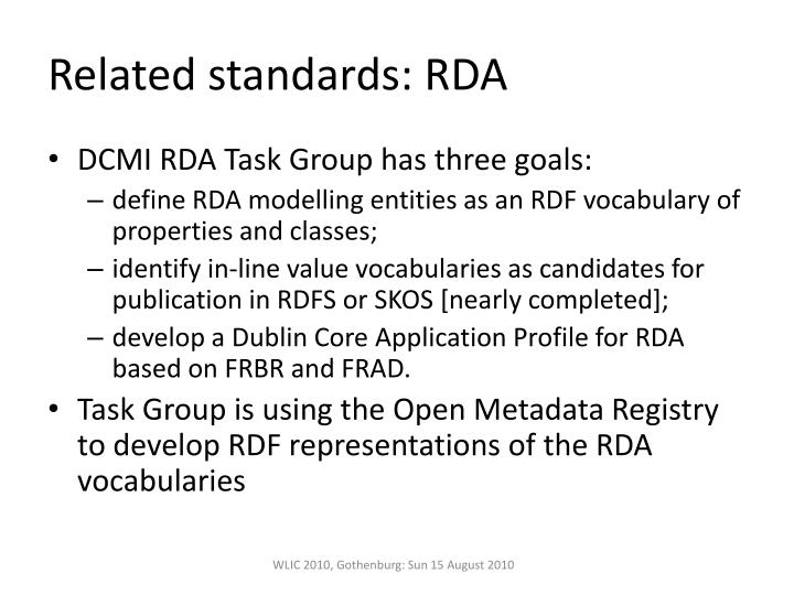 Related standards: RDA