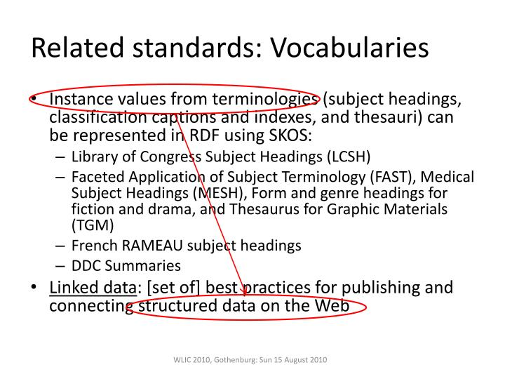 Related standards: Vocabularies