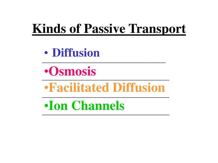 Kinds of Passive Transport