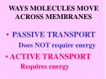 ways molecules move across membranes