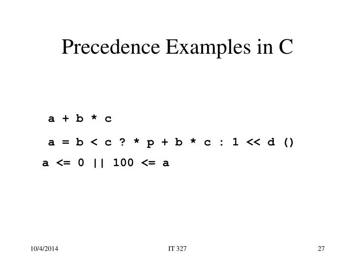 Precedence Examples in C