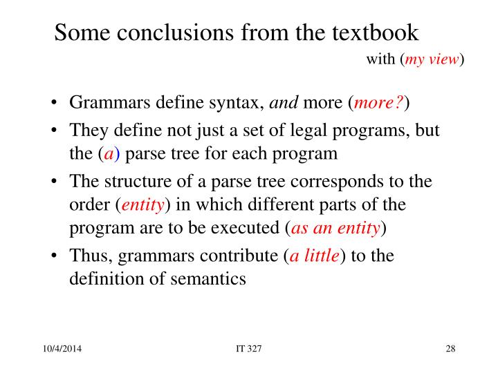 Some conclusions from the textbook
