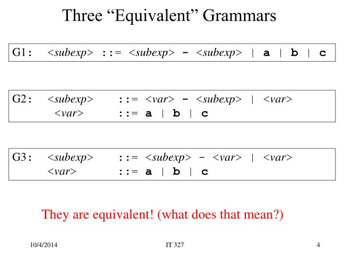 "Three ""Equivalent"" Grammars"