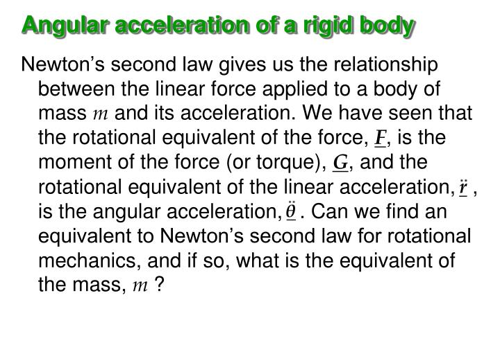 Angular acceleration of a rigid body