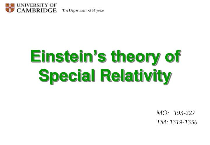 Einstein's theory of