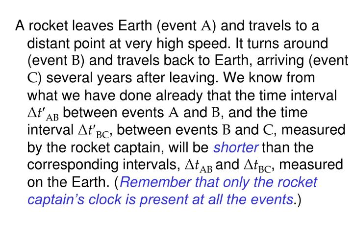 A rocket leaves Earth (event