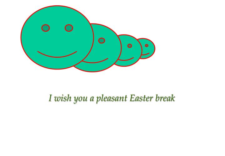 I wish you a pleasant Easter break