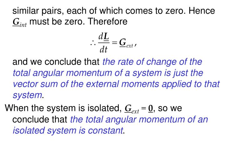 similar pairs, each of which comes to zero. Hence