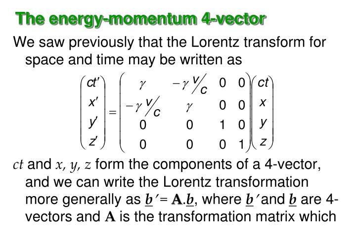 The energy-momentum 4-vector