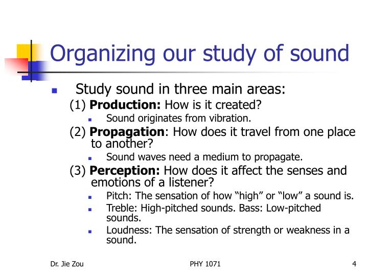 Organizing our study of sound