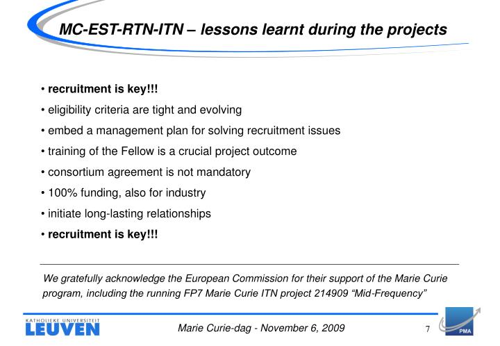 MC-EST-RTN-ITN – lessons learnt during the projects