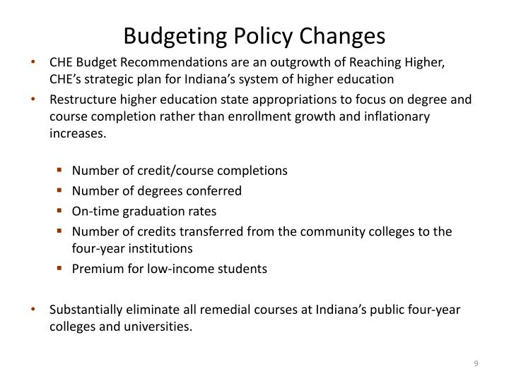 Budgeting Policy Changes