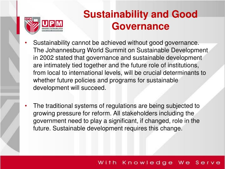 Sustainability and good governance