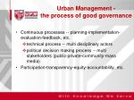 urban management the process of good governance