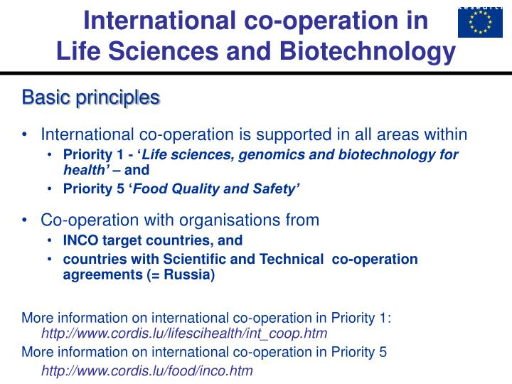 International co operation in life sciences and biotechnology1