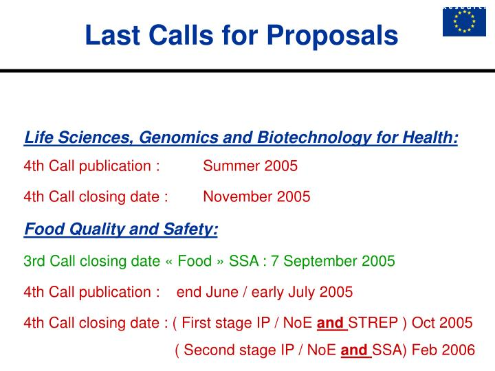 Last Calls for Proposals