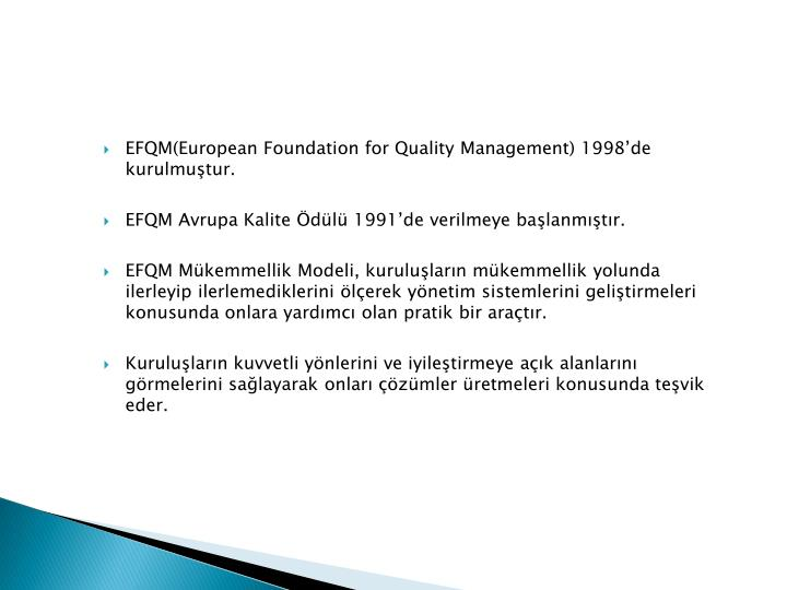 EFQM(European Foundation for Quality Management) 1998de kurulmutur.