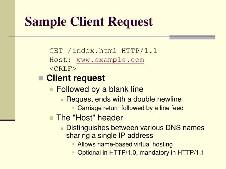 Sample Client Request