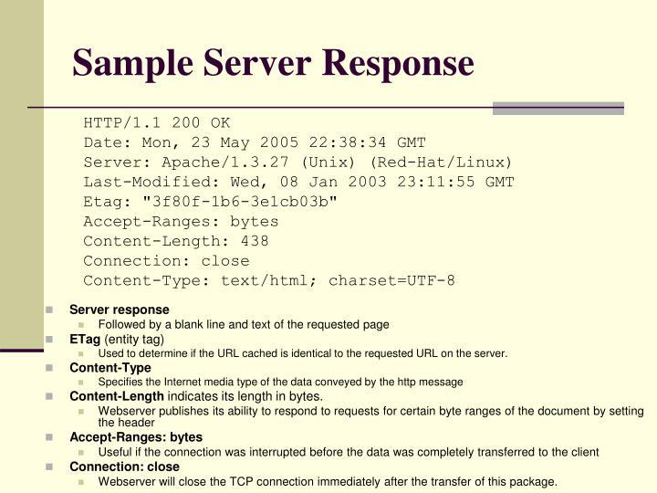 Sample Server Response