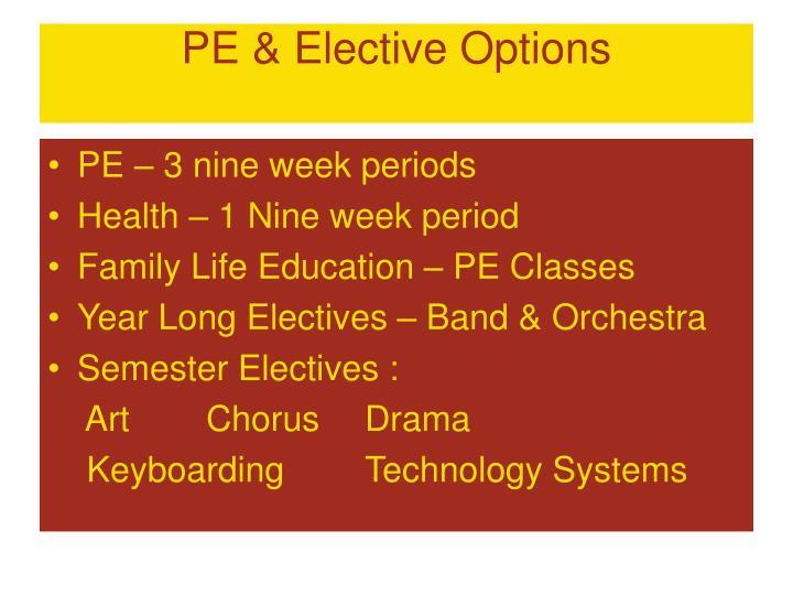 PE & Elective Options