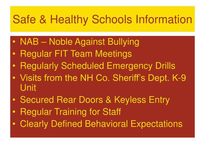 Safe & Healthy Schools Information