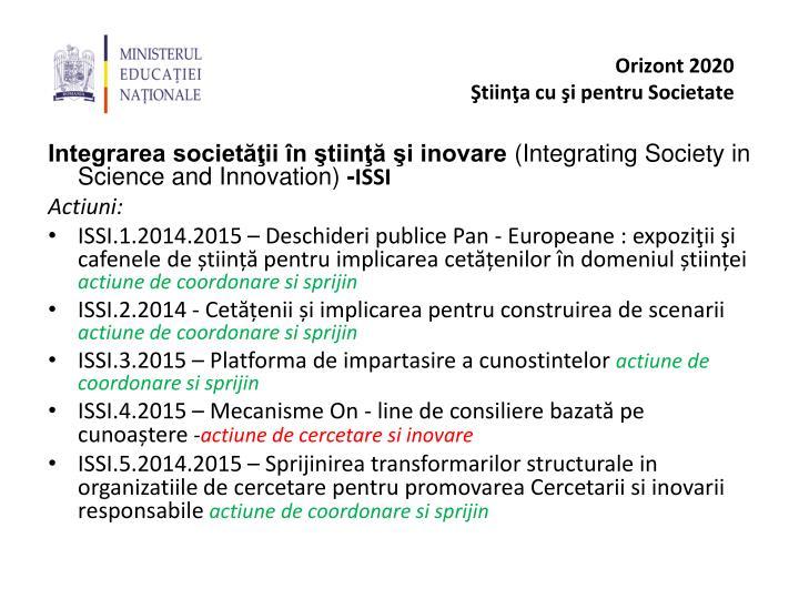 Integrarea societăţii în ştiinţă şi inovare