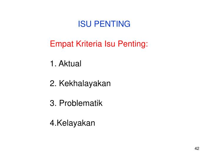 ISU PENTING