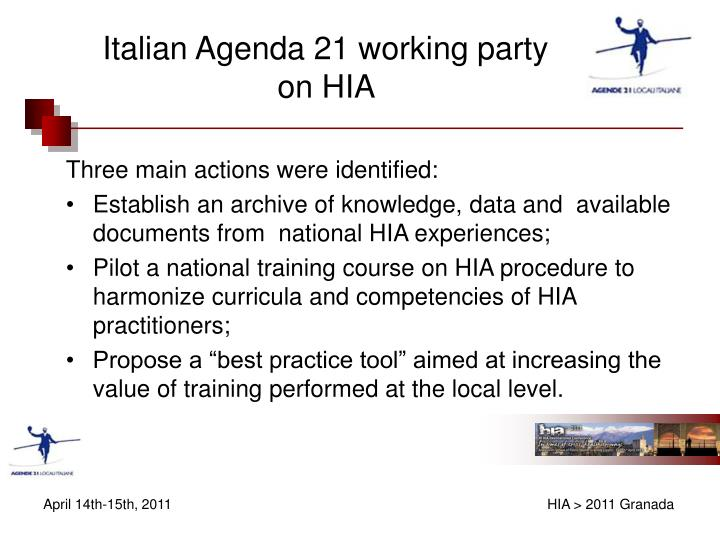 Italian agenda 21 working party on hia