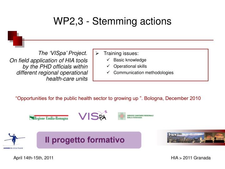 WP2,3 - Stemming actions