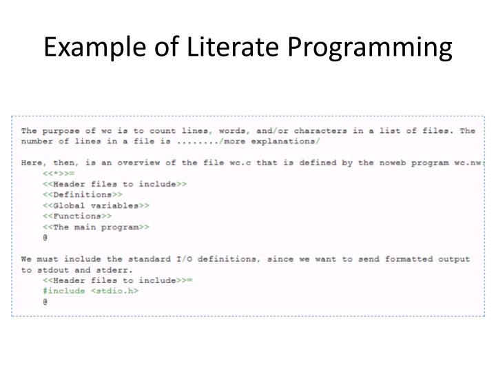 Example of Literate Programming