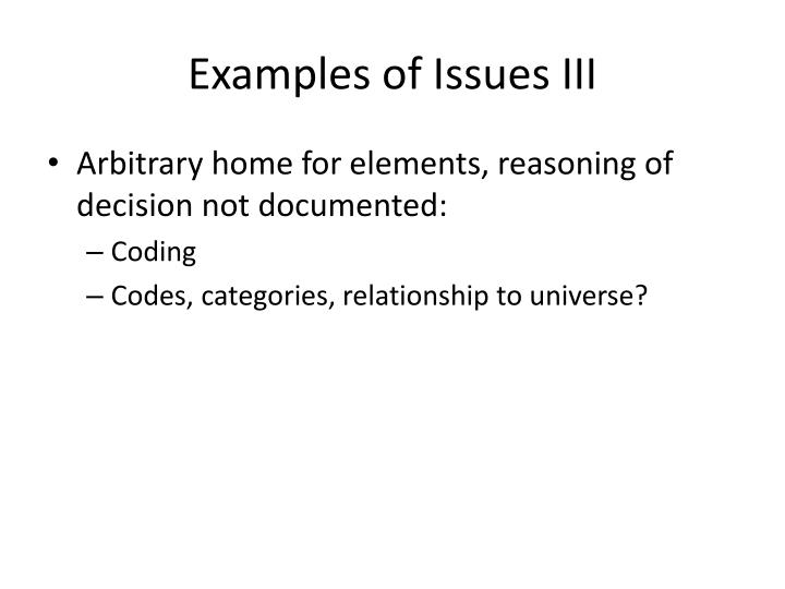 Examples of Issues III