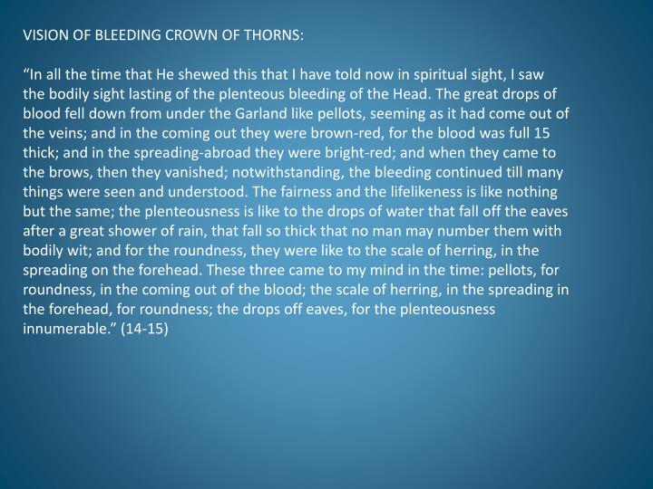VISION OF BLEEDING CROWN OF THORNS: