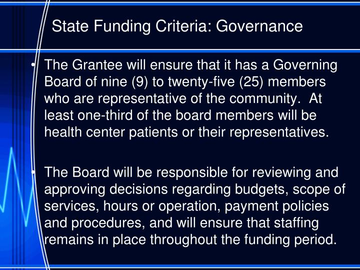 State Funding Criteria: Governance