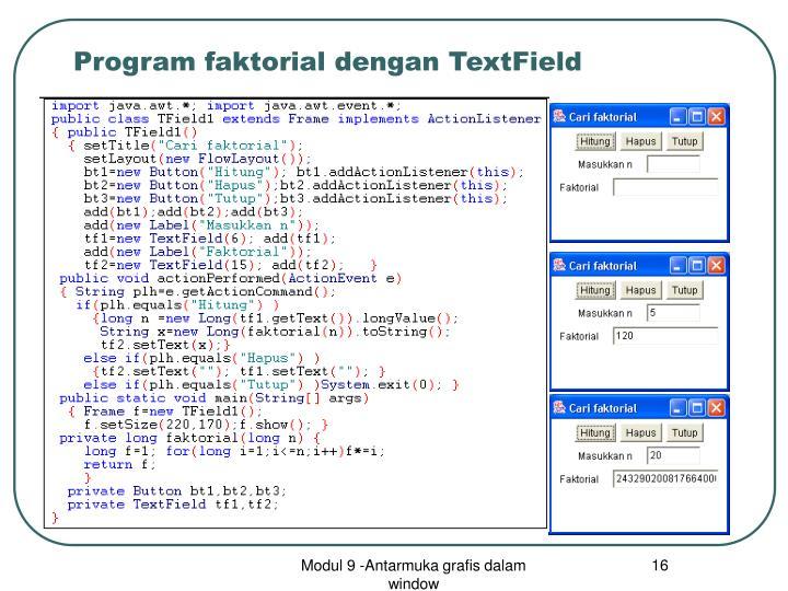 Program faktorial dengan TextField
