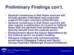 preliminary findings con t