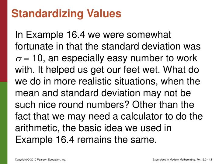 Standardizing Values