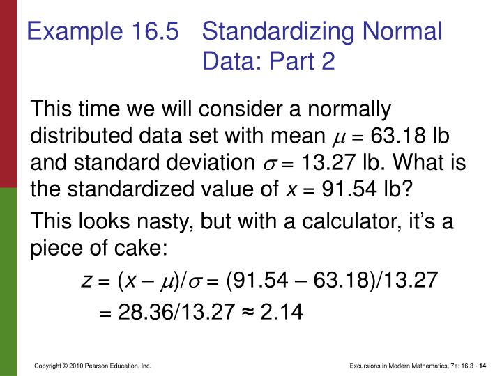 Example 16.5	Standardizing Normal Data: Part 2