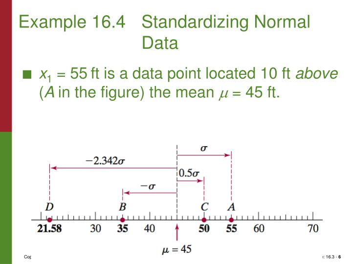 Example 16.4	Standardizing Normal Data