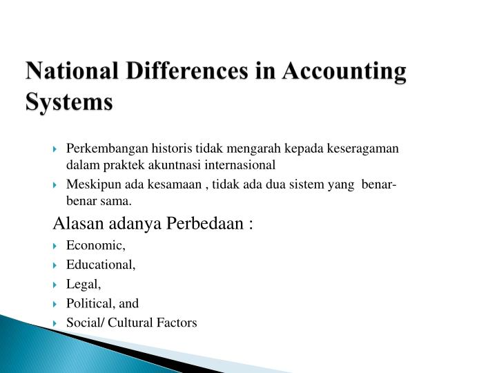 National Differences in Accounting Systems