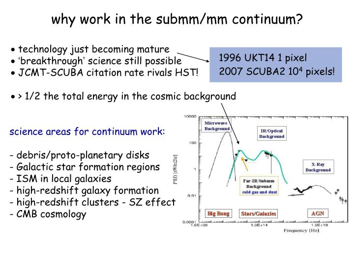 why work in the submm/mm continuum?