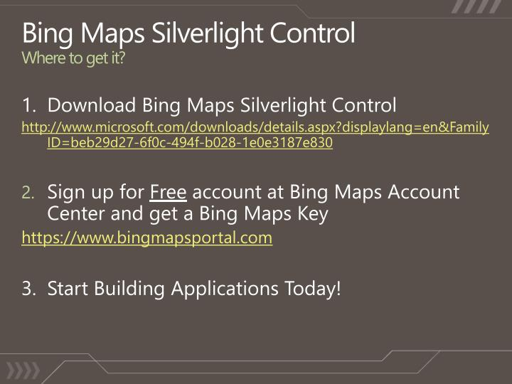 Bing Maps Silverlight Control