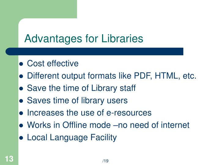 Advantages for Libraries