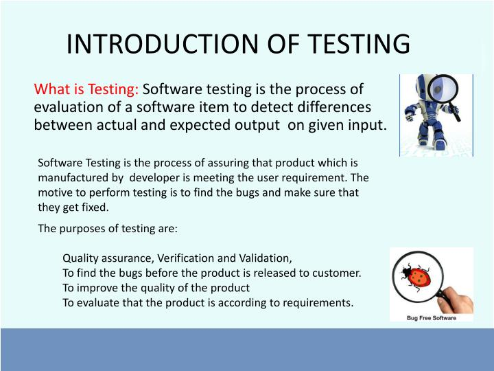 INTRODUCTION OF TESTING