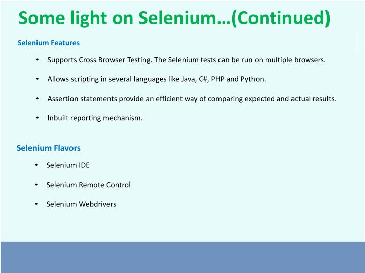 Some light on Selenium…(Continued)