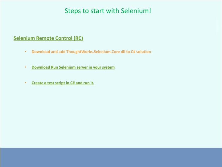 Steps to start with Selenium!